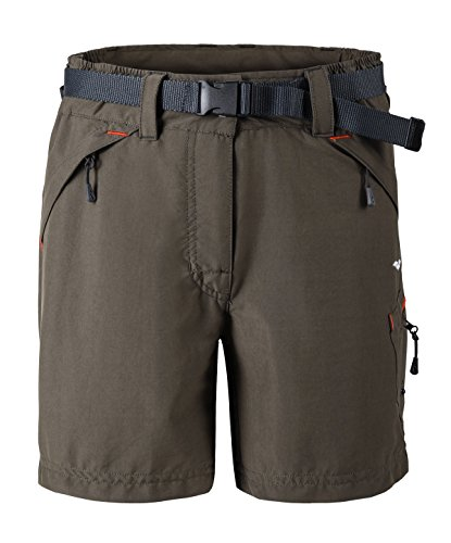 MIER Women' s Hiking Climbing Cargo Shorts with Zipper Pockets, Brown, L