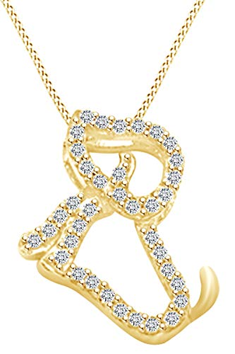 0.1 Carat (Ctw) Round Shape White Natural Diamond Dog Pendant Necklace In 10k Solid Yellow Gold