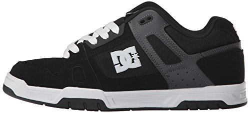 DC Men's Stag Sneaker, Black/Grey, 8 D US