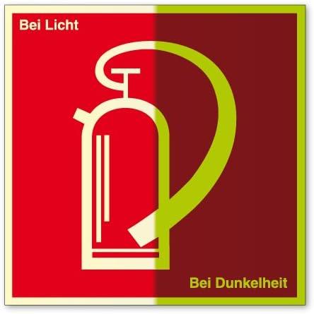 Brandschutzschild aus Kunststoff, lang nachleuchtend - Feuerlöscher - 20 x 20 cm
