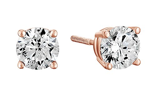 Christmas Sale 10K Solid Rose Gold Natural Diamond Solitaire Stud Earrings With Screw Back (1 Ct)