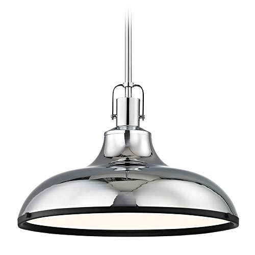 - Chrome Pendant Light with Black Accents 15.63-Inch Wide