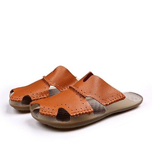 vera pelle sandali estate sandali sandali traspirante Spiaggia scarpa Uomini estate Tempo libero scarpa ,Marrone,US=9.5,UK=9,EU=43 1/3,CN=45