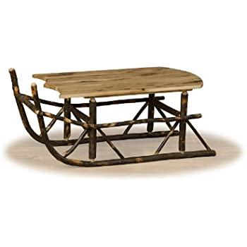 Rustic Hickory Sleigh Coffee Table  ALL HICKORY   Amish Made
