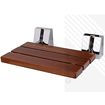 SOLID WOOD TEAK Wall Mounted Folding Shower Seat | Beautiful ...