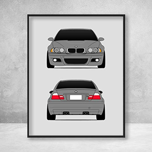 - BMW M3 E46 3 Series (2000-2006) Front and Rear View Poster Print Wall Art Decor Handmade M Power BMW M
