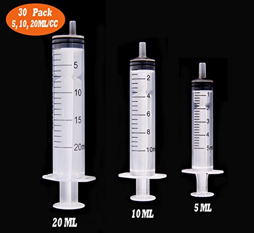 30 Pack 5ml/10ml/20ml Syringe, Buytra Plastic Syringe with Luer Slip Tip, No Needle, Non Sterile- Ideal for Measuring or Transfering Tiny Amount of Liquids(Without Cap)