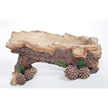 Pine log wine holder with pine cones and pine needles