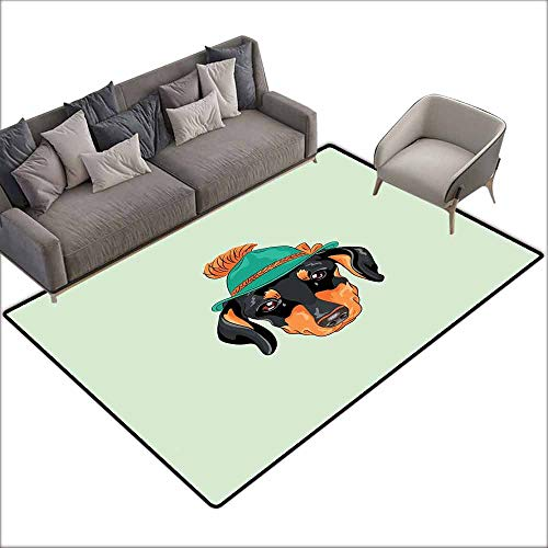 (Bedroom Living Room Area Rug Dachshund,Hipster Pure Breed Dog Silhouette in a Green Tyrolean Hat Cute Dachshund Puppy,Multicolor 80
