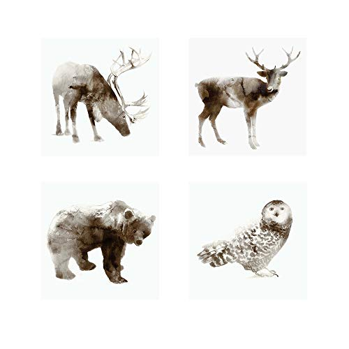 (Caribou, Stag, Owl & Bear by Edward Selkirk, 4 Piece Art Print Set, 12 X 12 Inches Each, Forest Animal)