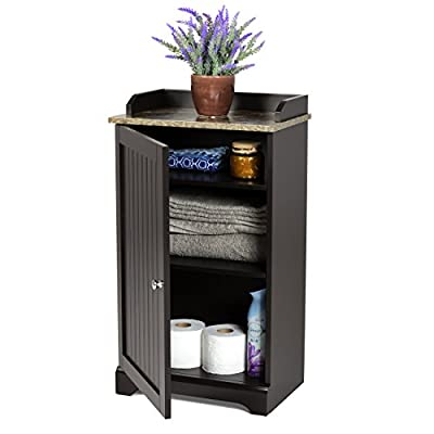 Best Choice Products Modern Contemporary Floor Cabinet Storage for Linens and Toiletries