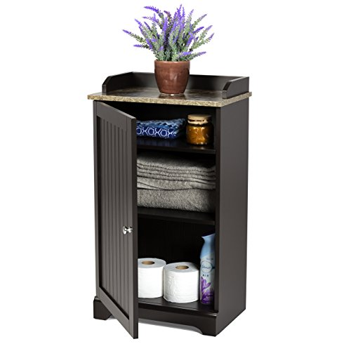 Best Choice Products Modern Contemporary Bathroom Floor Storage Organizer Cabinet w/3 Shelves, Versatile Door - Brown