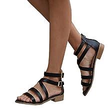 Amlaiworld Fashion Women Flat Bottom Sandals Shoes Ladies Buckle Strap Sandals Ankle Square Heel Beach Open Toe Shoes