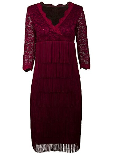 - Vijiv Women's Lace Sequin Fringe Flapper Cocktail Prom Formal Eve Party Dress,XX-Large,Wine Red