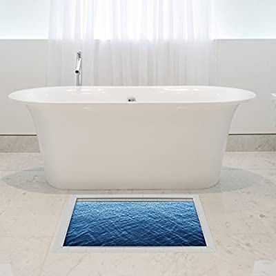 Shop24Hrs 3D Waterproof Bathroom Deep Blue Ocean Pattern Floor Sticker Anti Slip Washable Shower Room Decor