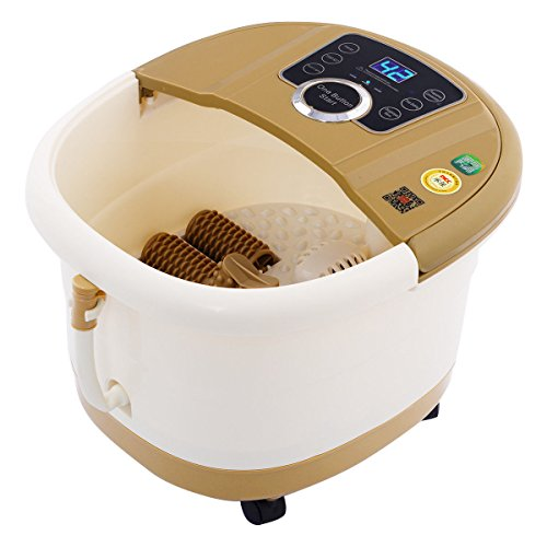Portable Foot Spa Bath Massager Bubble Heat LED Display Infrared Relax