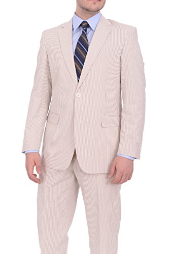 Tan Pinstriped - Emigre Classic Fit Tan Pinstriped Two Button Cotton Seersucker Suit-44-Long-44L 38W
