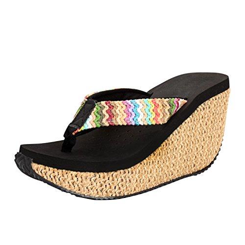 Sandales Flops Femme Eté Mules Vacances Bohémien Picine Compensées Frestepvie Noir Fleur Flip Plage Chaussures Plates Tongs Beach 5qx0wxt8E