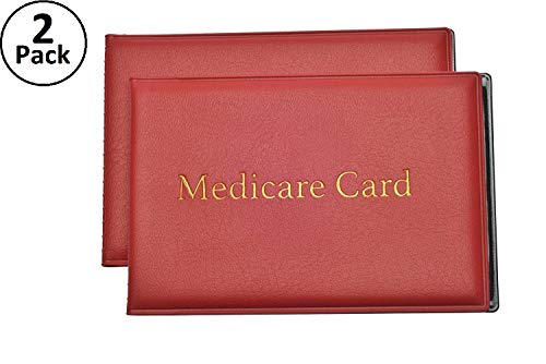 Medicare Card Protector with 2 Clear Card Sleeves - Holds Medical Prescriptions, Social Security Card, Driver License, Health Insurance, ID, Credit Card Holders, Red, 2 Pack -