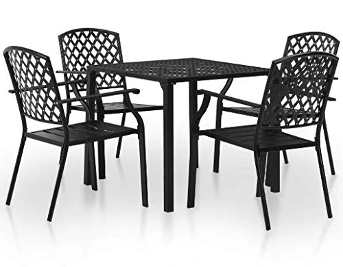 Luca Outdoor- Sunroom Furniture- Out Door Patio Furniture- Five Piece Set Black Steel Rust Resistant - Great for Summer Barbecues, Garden Parties, and Afternoons Spent Lounging