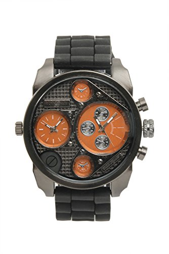 (Sporty Oversize Dual Time Watch with Black Rubber Band - BA405L Tangerine )