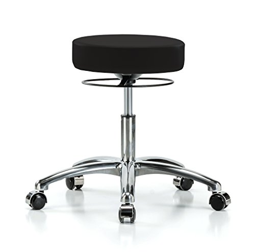 PERCH Chrome Stella Rolling Height Adjustable Salon & Spa Stool for Hardwood or Tile | Desk Height 18.5-24 Inches | 300-Pound Weight Capacity | 12 Year Warranty (Black Vinyl)