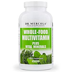 Dr Mercola Whole Food Multivitamin PLUS Tablets - 240 per Bottle - 30-day Supply - High-Potency Antioxidant Formula - Vital Minerals - Supports Healthy Vision, Immune System, Muscles, Vision & More