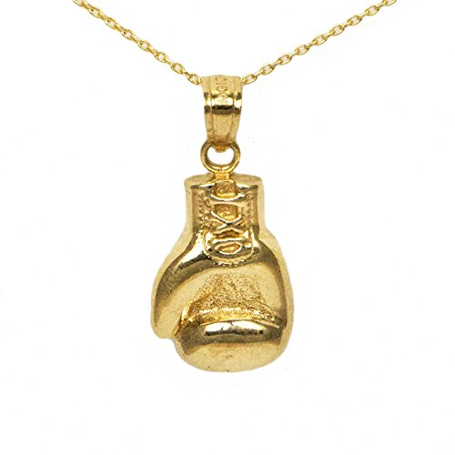 14k Yellow Gold Boxing Gloves Pendant by Ice on Fire Jewelry