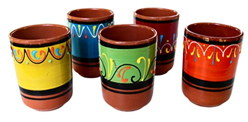 Terracotta Cups, Set of 5 - Hand Painted From - Terra Cotta Mexican