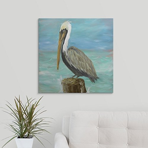 "Julie DeRice Premium Thick-Wrap Canvas Wall Art Print entitled Pelicans on Post I 24""x24\"""