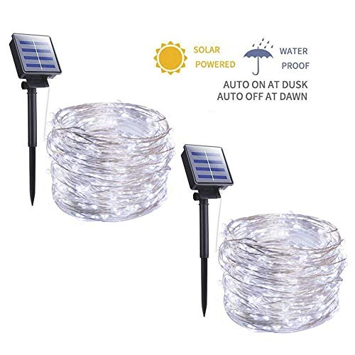 Outdoor Solar String Lights - 2 Pack 33FT 100 LED Solar Powered String Lights Waterproof Garden Fairy Lights Copper Wire Lights for Patio Yard Trees Christmas Table Wedding Party Decor (Pure White)