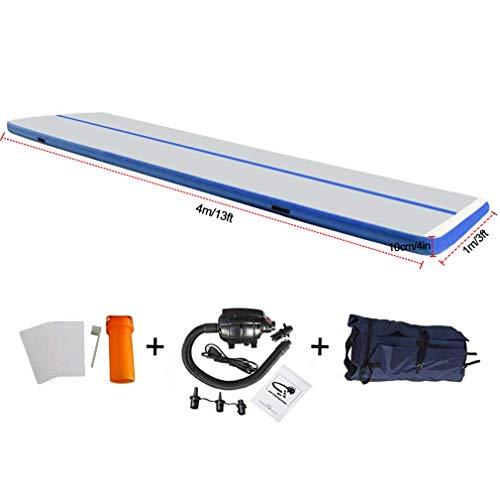 EZ GLAM 13ft Air Track Inflatable Gymnastics Tumbling Air Track Mat Electric Air Pump Cheerleading/Practice Gymnastics/Beach/Park/Home use(13ftx3.3ftx4in(4x1x0.1m), Dark Blue-L)