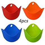 Egg Poacher Silicone Cook Poach Pods Kitchen Baking Cup Heat Resistant Eco-Friendly Cookware Gadgets Flexible Kitchen Cooking Tools Perfect Poached Eggs in Minutes Set of 4 (4pcs)