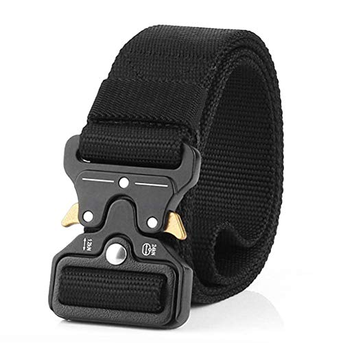 Tactical Belt, Quick Release Nylon Belt, Military Utility Web Rigger Belt with Heavy Duty Buckle for Mens Women, Black 1.5