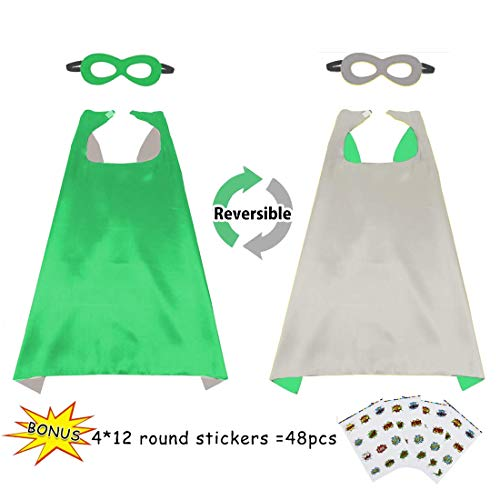 Flying Childhood Boys&Girls Superhero Cape+Mask Set and Stickers - Kids Super Hero Party Pretend Play Costume (Green-Silver) ()