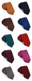Elviros Mens Eco-friendly Cashmere Wool Slim Tie 2.4'' (6cm) Solid Color
