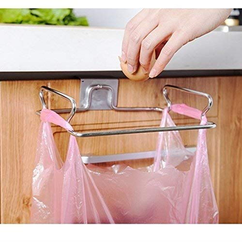 Metal Hanging Garbage Bags Rack Kitchen Wash Cloth Towel Storage Holders Wall Hanging Cupboard Cabinet Stand Organizer Shelf ()