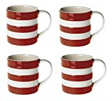 Cornishware Red and White Stripe Set of 4 Espresso Cups Mugs, 6oz