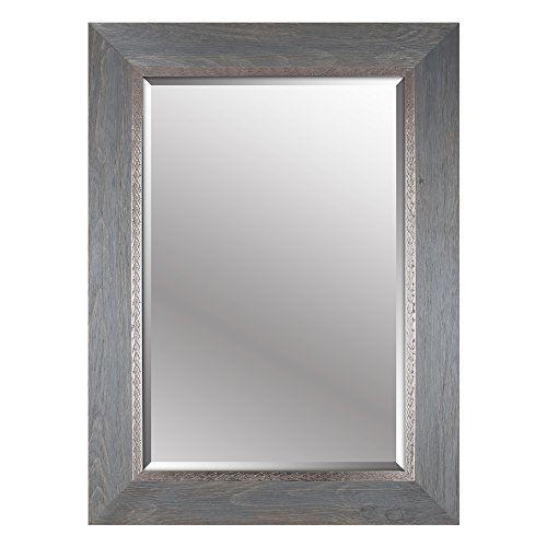 beveled hanging wall decorative mirror with gray embossed frame 34inch by 46inch
