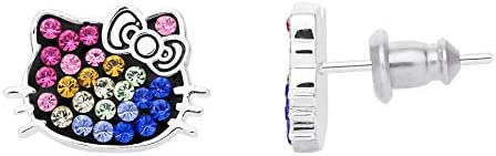 Hello Kitty Rainbow Crystal Silver Plated Stud Earrings Jacmel EF00219SRML