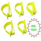 5Pcs Pack Yellow Sino-Max S002-5Y Glove Grabber Clip Holder Guard Work Safety Clip Glove Keeper Safety Clips for Helmet, Earmuff, Mask, Cable, Cord, Rope Hunging in Hook Belt Clip