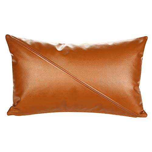 Snugtown Decorative Faux Leather Brown Lumbar Throw Pillow Cover 12x20 Inch with Crosswise Stitched, Faux Leather Milo Lumbar Tan Pillow Case for Couch, Sofa, Bed