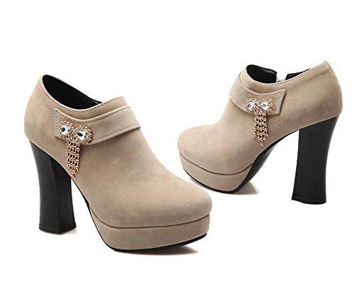 Womens Sequins arc diamant épais avec des chaussures talon bottes confort décontracté , beige , 39