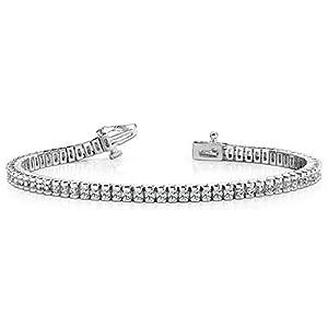 14K White Gold Diamond Round Brilliant Channel Set Tennis Bracelet (2.98ctw.) - Size 8