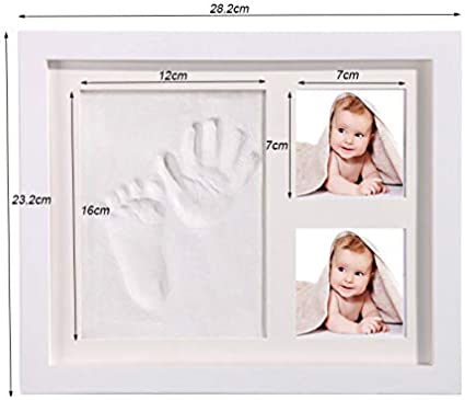 blanco-arcilla Acobonline Kit cadre photo pour b/éb/é mains et empreintes de pas pour gar/çons et filles Cadres en argile et bois Ne se fissure pas lors du s/échage.