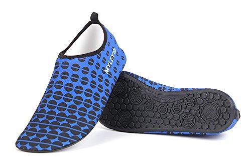 Hysenm Mannen Vrouwen Ronde Stippen Blootsvoets Water Schoenen Voor Zwemmen Snorkelen Strand Hardlopen Surfen Yoga Blauw