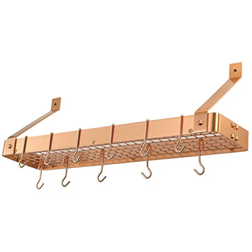 (MISC 12 Hooks Pot Rack Wall Mounted Hanging Organizer for Pans Kitchen Cookware Holder, Steel Satin Copper)