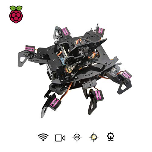 Adeept RaspClaws Hexapod Spider Robot Kit for Raspberry Pi 3 Model B+/B/2B, STEAM Crawling Robot, OpenCV Target Tracking, Video Transmission, Raspberry Pi Robot with PDF Manual