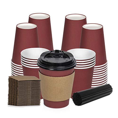 Savourio Coffee Cups with Lids - 12 Oz