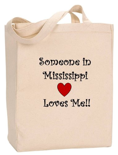 (SOMEONE IN MISSISSIPPI LOVES ME - State Series - Natural Canvas Tote Bag with Gusset)